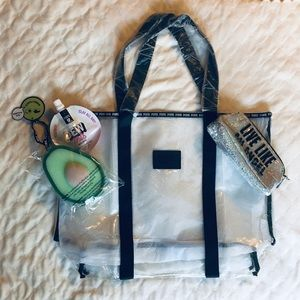 NWT Victoria's Secret PINK Clear Travel Tote Bag